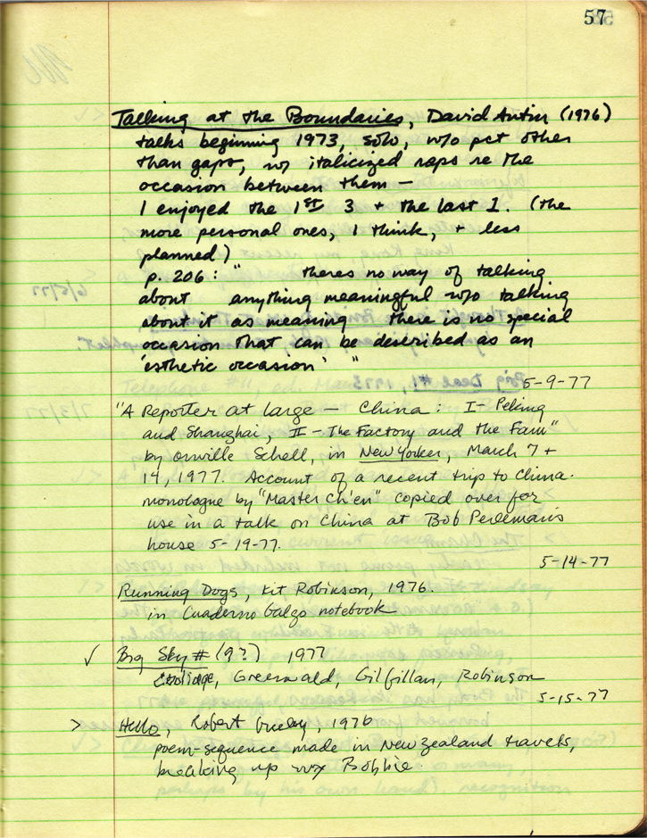 A page of Bensons spring 1977 reading journal marking a primary source for Views of Communist China, in highly suggestive company.